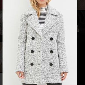 Forever 21 Gray Marled Boucle Wool Blend Peacoat M